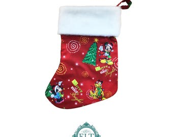 Mickey Crimson Christmas Stocking (with or without personalization)