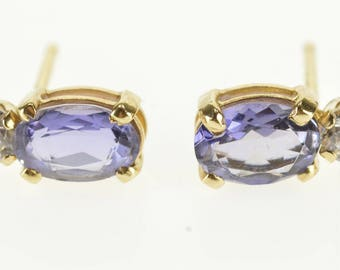 14k Oval Cut Amethyst Cubic Zirconia Accent Post Back Earrings Gold