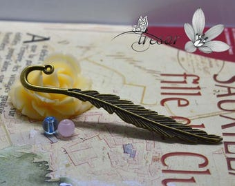 1pcs QDW237 charms ignets, Bronze, feather