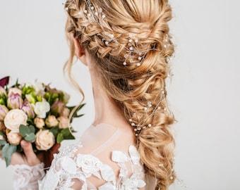 Simple Hair vine Thin Babys breath Hair jewelry gold Bridal crown Pearl spirited Bride hair accessories Dainty Wedding hair piece crystal