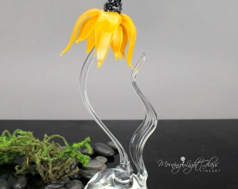 Golden Cone Flower Sculpture - Lampwork Art Glass - Nature Inspired Home Decor
