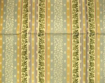 Embroidered Leaf Vine Stripe Lampas Designer Fabric Sample Highland Court