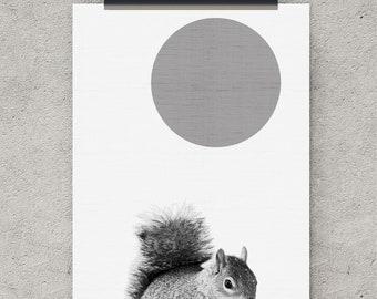 Squirrel print, Squirrel art, nursery printable, digital download art, nursery prints, digital print, animal art, printable wall art, poster