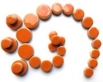 Ceramic Discs Mosaic Tiles - Orange - 50g