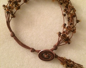 Brown knotted beaded bracelet