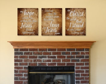 On Christ the solid Rock I stand, hymn, My hope is built, Christian Hymn art, Christian wall art, Christian canvas art