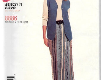 McCall's Easy Stitch 'n Save Pattern 8886 VEST & PULL-On SKIRT Misses Sizes 12 14 16 18