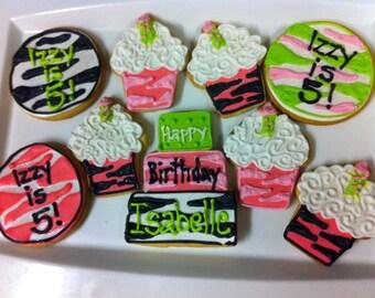 Zebra Birthday Cookies