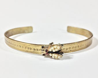 Insect Bracelet, Etched Brass Skinny Cuff, Bug Bracelet - Free Domestic Shipping