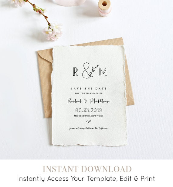 Editable Save the Date Template, Printable Rustic Wedding Date Card, Instant Download, Self-Editing Template, Digital, Templett #042-120SD