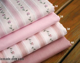 Pink Coordinate Fabric, Light Pink Flower Stripes Solid Pink Cotton - 1/2 Yard