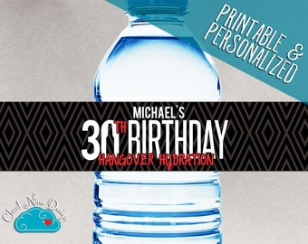 30th Birthday Water Bottle Labels - Guys Birthday - Beer Birthday {Instant Download} - Hangover Hydration - Printable - 30th Birthday Decor