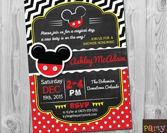 Mickey Mouse Baby Shower Invitations, Mickey Mouse Baby Shower, Baby Shower Invitations for boys, Baby Shower Invites, Mickey Baby Shower