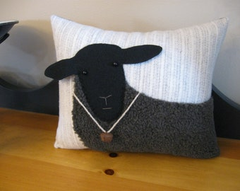 Primitive Pillow..... Woolly Black Sheep with Bell