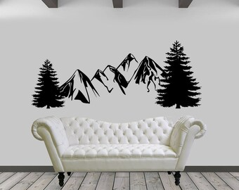Mountains and Trees Landscape Vinyl Wall Decal