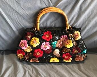 Beaded Embroidered Flower Bag