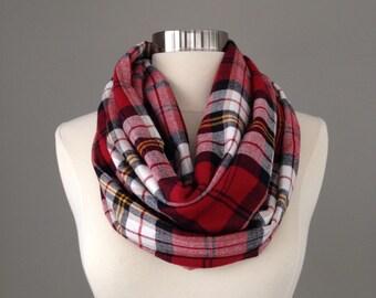 Sale! Women's red black cream yellow plaid infinty scarf- flannel, christmas, tartan