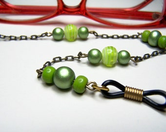 Lime Green Eyeglass Chain, Beaded Eyeglass Holder, 27 inch Chain For Glasses, One of a Kind, Sunglass Holder by Eyewearglamour