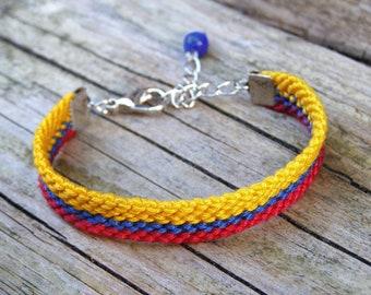 Colombian flag wayuu bracelet, Lapis lazuli stone friendship bracelet, Yellow ethnic woven jewelry, Hippie bohemian gypsy Country symbol red