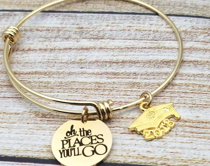 Oh the places you will go in gold Customizable Expandable Bangle Charm Bracelet, graduation, high school, college, gold tone