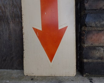 Vintage arrow sign painted directional pointing double sided Industrial salvage home shop office signage 23 inch