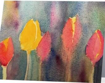 Tulips Watercolor Greeting Card