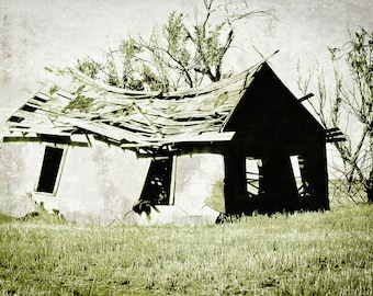 Fine Art Photography, house, crooked house, abandoned house, rural decay, olive green, sage, gray, monochromatic, Nursery Decor, Fine Art