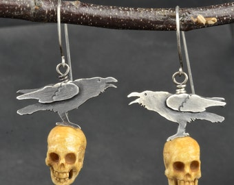 Super Creepy Halloween, But Really Cool, Sterling Silver Raven with Hand Carved Yak Bone Skull Earrings