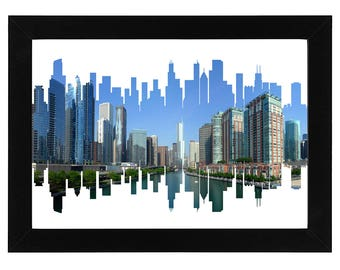 Chicago Skyline Print with aerial city photo
