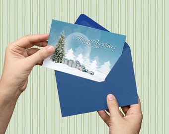 Christmas, Digital download, instant download, printable art, Merry Christmas, Christmas tree, Christmas print, Christmas postcard, snow