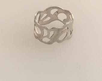 Sterling Silver organic pierced ring