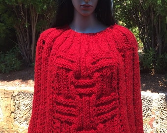 Hand Knitted Red Poncho