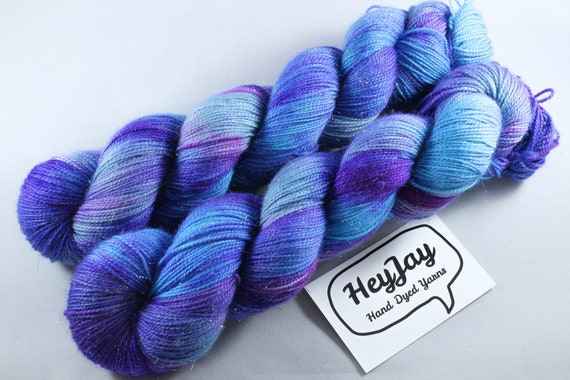 Hand Dyed Sparkle Sock Yarn - Mermaid