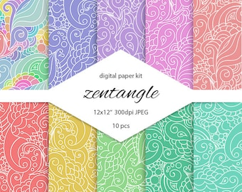 Zen doodle boho chic tribal digital scrapbooking paper with curly hand drawn pattern. Hand drawn zen doodle pattern. Hindu digital paper