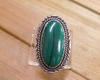 Malachite Sterling Silver Ring Size 9.5