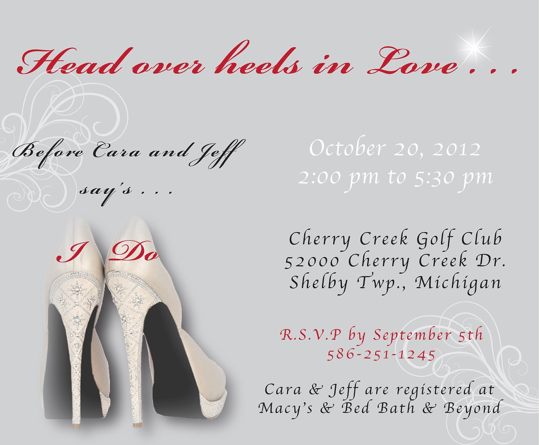 Head over Heels Theme Bridal Shower Invitation