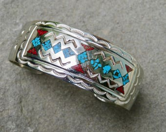 Turquoise and Coral Chip Inlay Cuff,Vintage Native American Turquoise and Coral Jewelry,Navajo Artist Signed Turquoise and Coral Bracelet