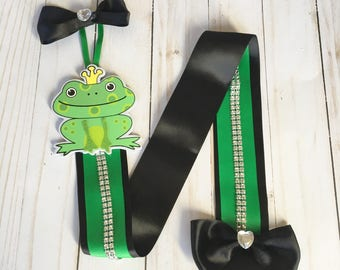 Frog prince hairbow hair clip bow holder organizer enchanted forest room decor fairytale wall art new baby girls baby shower birthday gift
