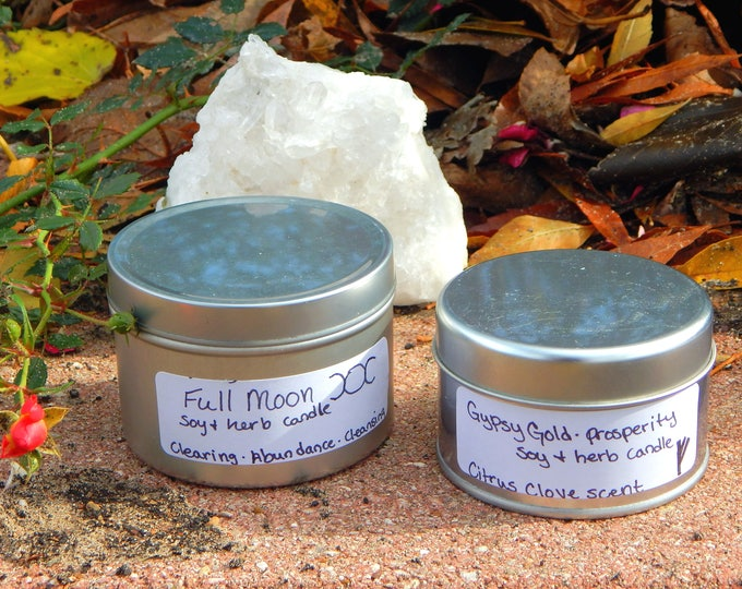 TIN CAN Ritual Candle, Prayer candle - Fixed, Dressed. Any Intent - 100% Hand-crafted with soy wax, herbs and oils
