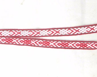 Original Vintage Handwoven Chumpi Belt made in Peru, Red and White Handmade Woolen Traditional and Cultural waist belt from Cusco Peru
