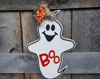 Halloween Door Hanger - Halloween Wreath - Ghost Wall Hanging - Porch Sign