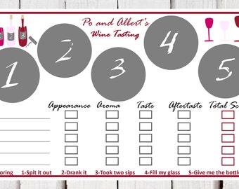 Wine Tasting place mats, paper wine tasting placemats, wine tasting scorecard, Digital PDF for a wine tasting mats, wine and cheese tasting,
