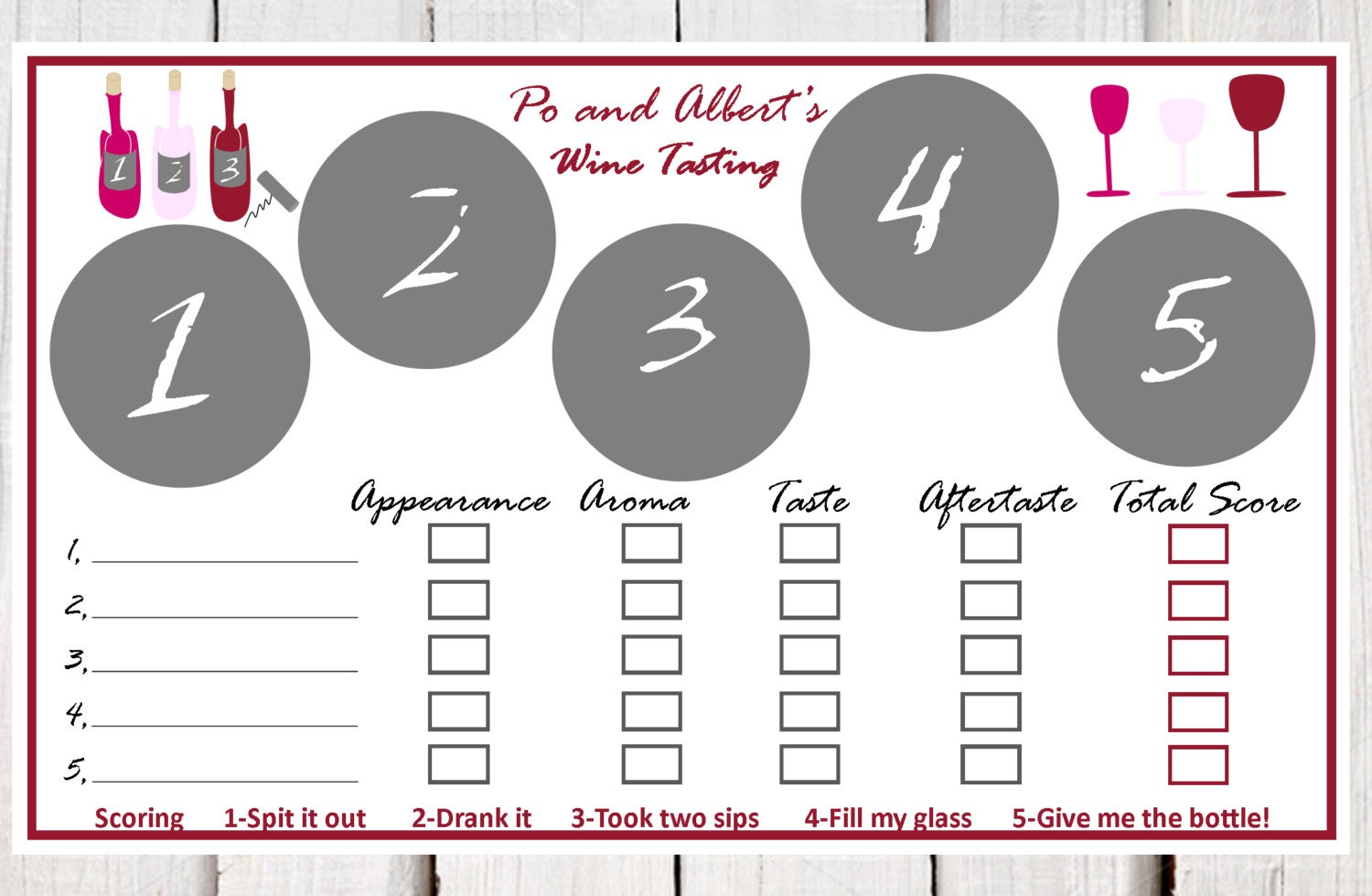 Wine tasting place mats paper wine tasting placemats wine for Wine tasting sheet template