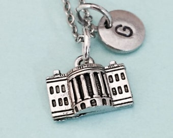 White House necklace, White House charm, personalized necklace, initial necklace, initial charm, monogram