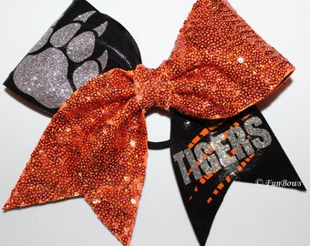 Glitter Pawprint Custom Cheerleading Hairbow - WOW-