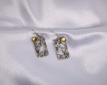 Item 4281 - Nature Bird Tree Handcrafted Unique Lightweight Layered Fine and Sterling Silver Earrings with Stunning Genuine Citrine Gemstone