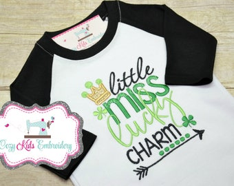 St. Patrick's Day shirt, St. Patty's day shirt, Saint Patrick's Day shirt, Saint Patty shirt, Little Miss Lucky Charm Shirt, girl, applique