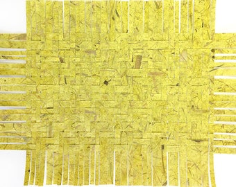 Green Paper Weaving-17x13- Abstract Paper Art- Twill Weave- Chartreuse- Mulberry Papers
