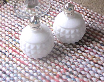 Mid Century milk glass Salt and Pepper shakers made in Japan Mid Century Modern white glass kitchen dining serving vintage