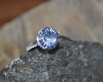 Sterling Silver Blue Mystic Quartz & White Topaz Ring